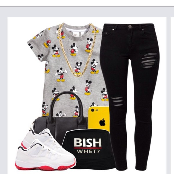 t-shirt mickey mouse grey t-shirt rolled sleeves shoes shirt hat jordans 11 quote on it black leather bag mickey mouse shirt
