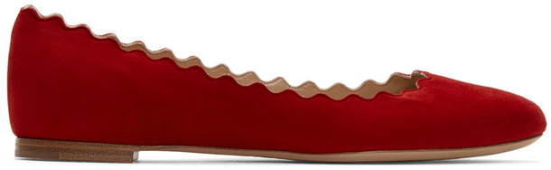 Chloe flats suede red shoes