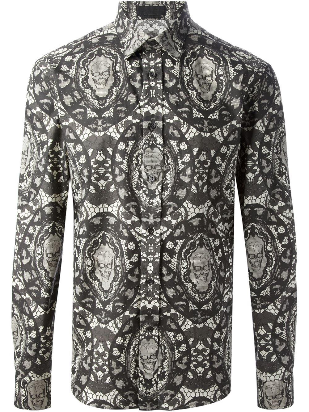 Alexander Mcqueen Skull And Lace Print Shirt - Jean Pierre Bua - Farfetch.com