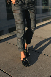 pants,tumblr,printed pants,tartan,plaid,grey pants,slide shoes,black shoes,shoes,gucci,gucci shoes,gucci princetown