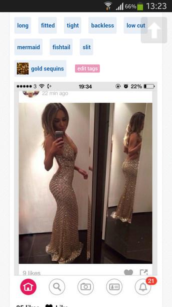 dress beige dress backless dress prom dress long dress low cut dress bodycon dress sequins spaghetti strap