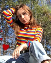 sweater,rainbow striped turtleneckk