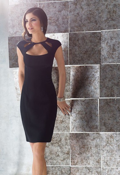 dress black dress little black dress little black dress black sheath dress black cut out dress sheath dress cut out neck office dress wear to work dress classic black dress