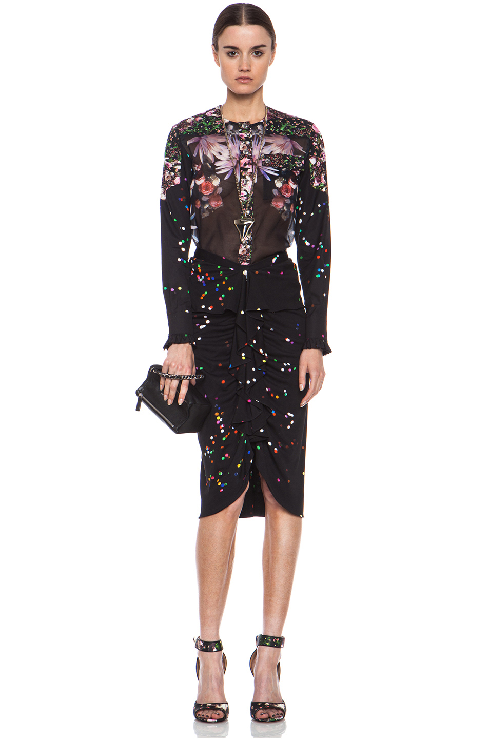 GIVENCHY|Crepe Jersey Confetti Ruffle Skirt in Multi