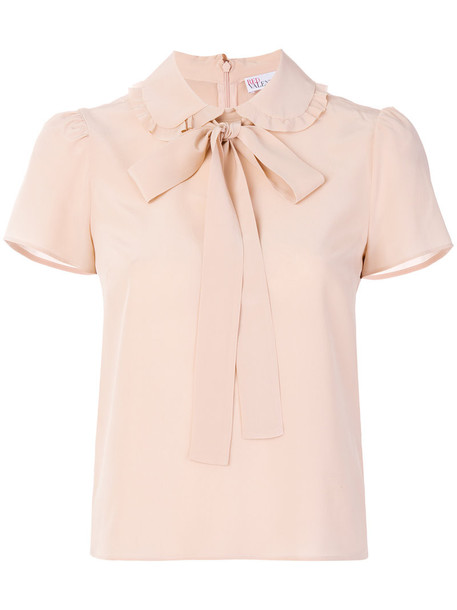 RED VALENTINO blouse bow women silk purple pink top