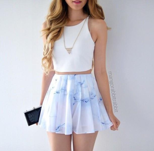 Blouse skirt white shirt blue pastel pastel blue pink blue white pink pastel pink ...