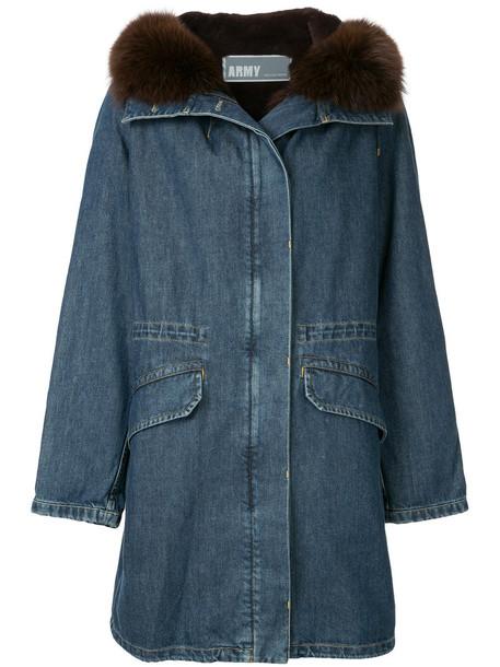 parka denim fur zip women blue coat
