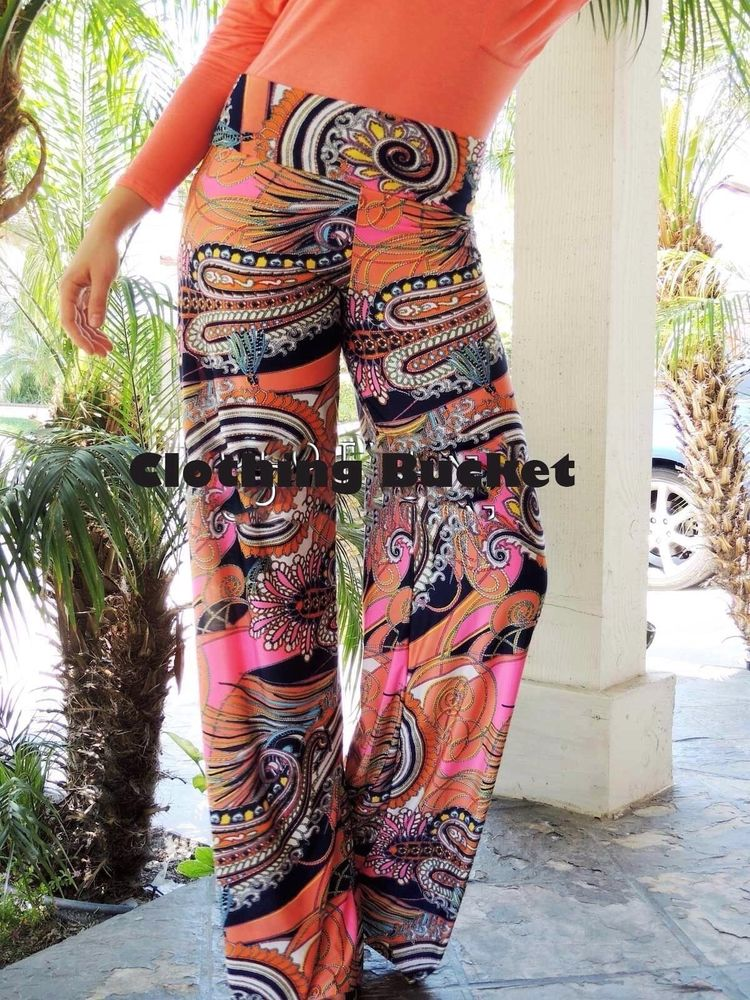 SMALL NAVY/PINK GYPSY PAISLEY PRINT WIDE FLARED LEG YOGA/BEACH PALAZZO PANTS