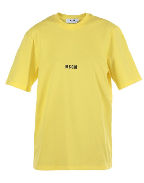 MSGM t-shirt shirt cotton t-shirt t-shirt cotton yellow top