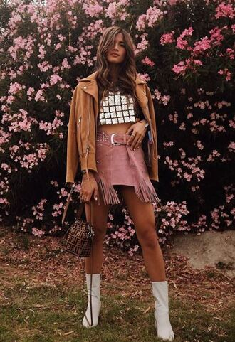 skirt mini skirt top crop tops blogger festival festival top music festival jacket rocky barnes instagram ankle boots spring outfits