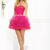 Faviana 7191 Hot Pink Ruched Organza Short Prom Dress