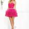 Faviana 7191 hot pink ruched organza short prom dress