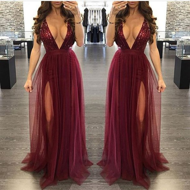 a6595fd49ca dress maxi dress burgundy burgundy dress maxi slit dress slit dress prom dress  long dress long