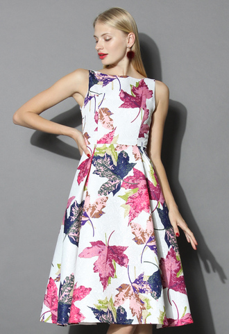 dress falling maples jacquard prom dress in white chicwish floral
