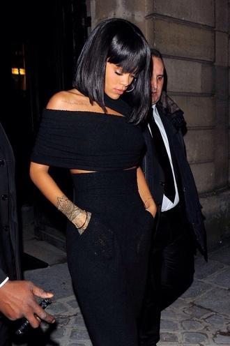 top rihanna black crop tops dress
