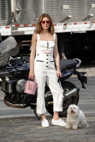 jumpsuit white olivia palermo sneakers blogger summer outfits pants overalls