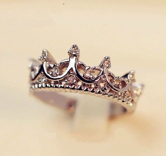 girly cute princess silver jewels disney tumblr crown tiara ring fashion diamond ring tumblr girl pandora girls chick vogue engagement ring fashionable accessories fashion accessories expensive taste