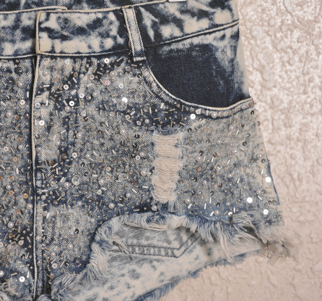 Denim Shorts Sequins Solid Zipper