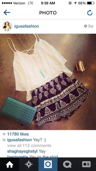 short High waisted shorts shorts blouse