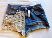 shorts,lace,lace shorts,jeans,crochet
