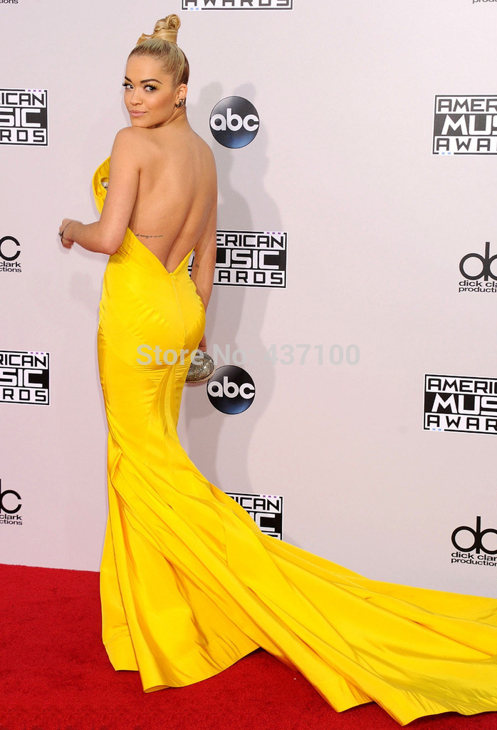 Aliexpress.com : buy 2014 american music awards hot&sexy strapless yellow mermaid long evening prom dress red carpet celebrity dresses custom made from reliable dresses net suppliers on suzhou lovestory dress store
