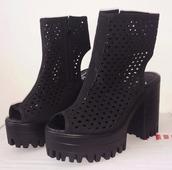 shoes,boots,black,peep toe,chunky sole