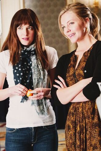 dress print scarf dakota johnson fifty shades of grey bff blue polka dot scarf