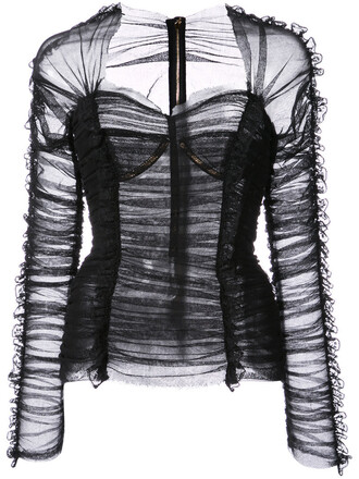 blouse bustier women spandex cotton black top