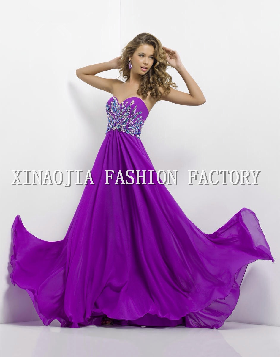 Aliexpress.com : Buy Famous 2014 Prom Dresses Empire Strapless Sweetheart Sleeveless Beaded Rhinestone Bodice Flowing Chiffon Evening Gown from Reliable rhinestone evening gown suppliers on Chaozhou City Xin Aojia dress Factory