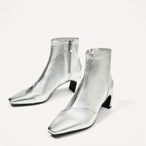 edc9f6f7c2e Women s Silver Glitter Chunky Heel Boots Ankle Fashion Boots by FSJ