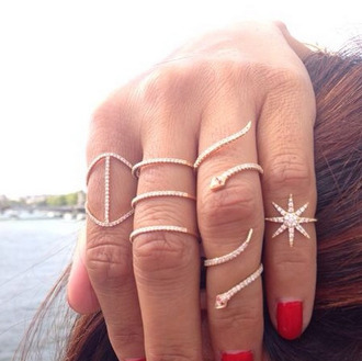 jewels ring jewelry snake snake ring crystal crystal ring pave ring star ring bling delicate rings