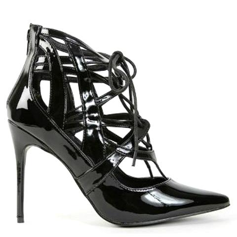 Ibiza black neon coral pointy toe lace up pump stiletto heels