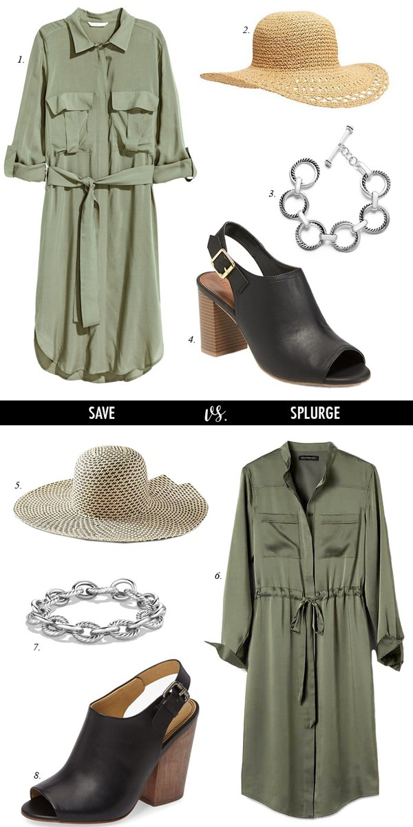 dailystylefinds blogger shirt dress hat jewels shoes shirt dress green dress straw hat