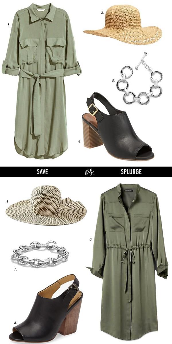 dailystylefinds blogger shirt dress hat jewels shoes shirt dress green dress straw hat