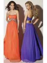 Buy Attractive A-line Scoop Neckline Empire Waist Rhinestones Floor Length Chiffon Prom Dress  under 200-SinoAnt.com