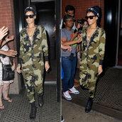 hat,rihanna,jumpsuit,camouflage,beanie,pants