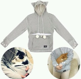 shirt sweater cat sweater jacket cats snuggle comfy cozy lazy day fluffy warm grey ears