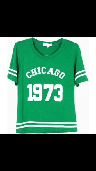 shirt t-shirt green white chicago