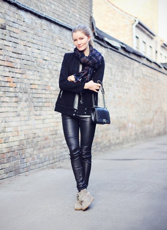 passions for fashion blogger leather leggings black jacket tartan scarf coat t-shirt pants shoes scarf jewels bag