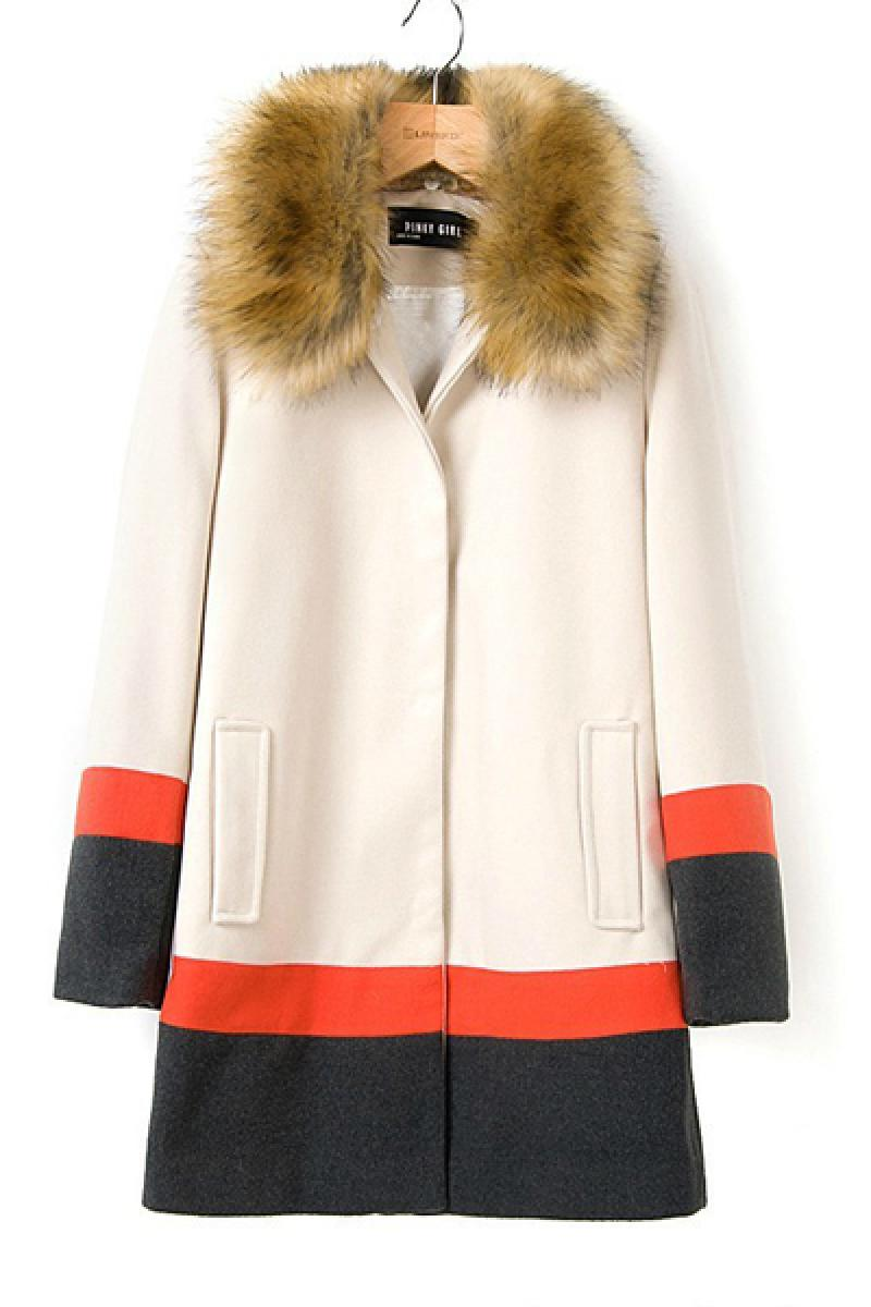 Large Fur Collar Contrast Color Slim Windbreaker,Cheap in Wendybox.com