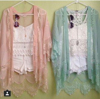 cardigan lace pastel pink mint kimono top shorts