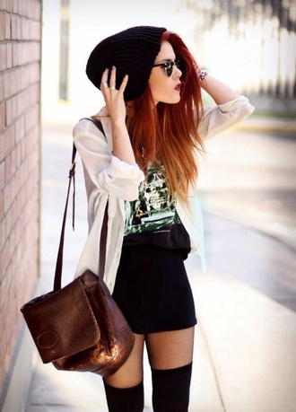 cardigan white summer skirt graphic tee hair