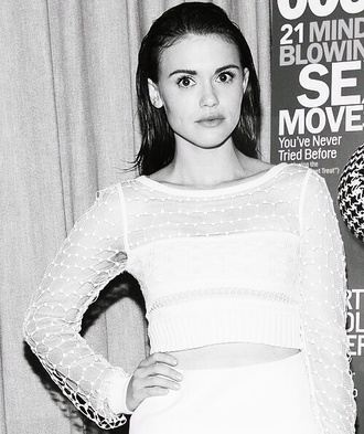 shirt mesh white white crop tops holland roden celebrity style long sleeves