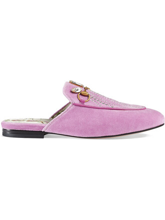 metal women leather velvet purple pink shoes