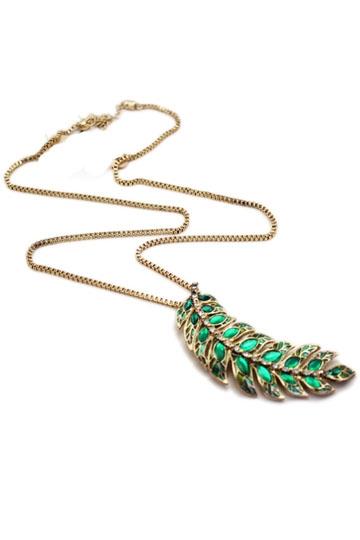 Green Leaf Diamond Necklace [FTBJ00180]- US$9.99 - PersunMall.com