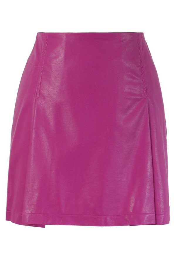 skirt chicwish faux leather bud skirt hot pink