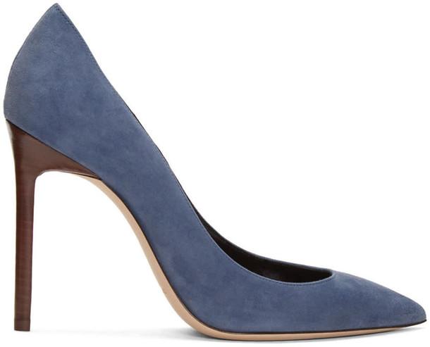 heels blue suede shoes