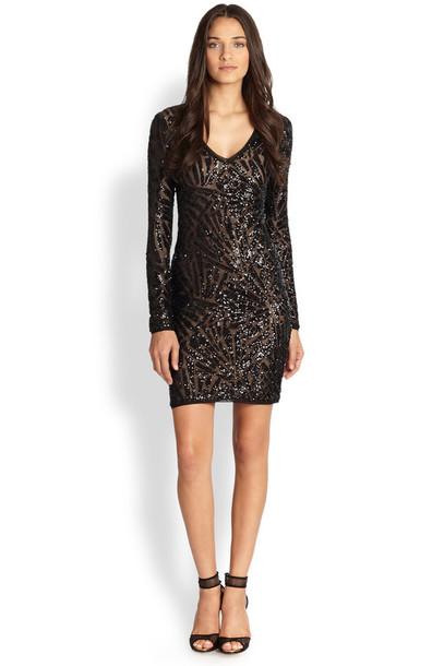 Bcbg Morris Sequined Dress Black Dress Wheretoget