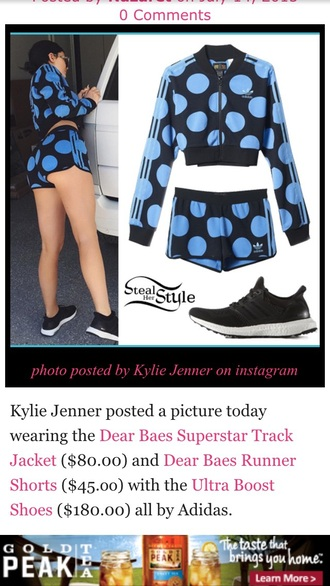 coat kylie jenner polka dots pants adidas tracksuit black blue sports shorts shorts