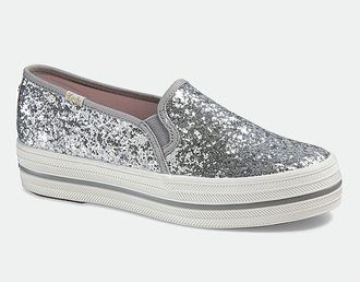 shoes silver shoes keds platform sneakers slip on shoes silver sneakers